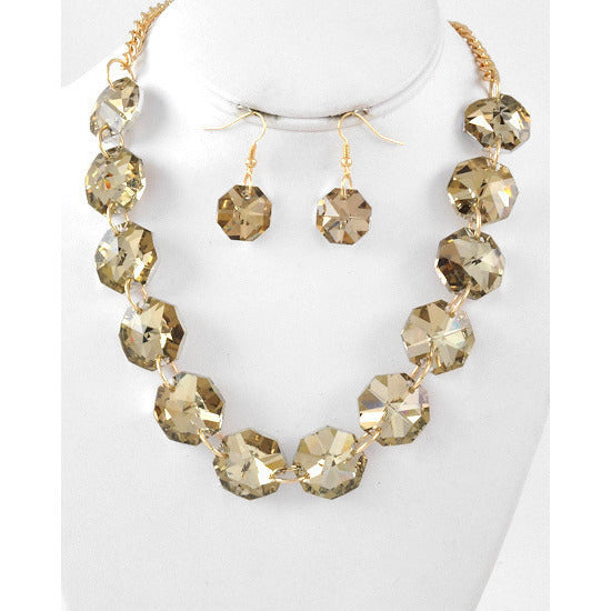 Round Gold Tone Topaz Glass Stone Necklace Set - Dazzle Her Now