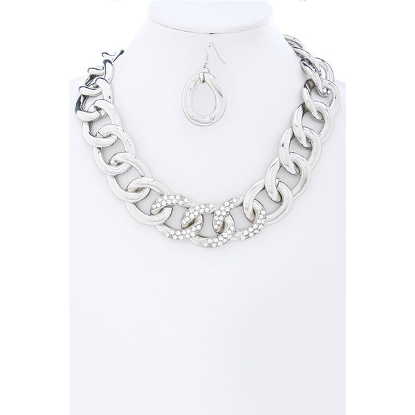 Silver Link Chunky Statement Chain w/ Crystals Necklace Set