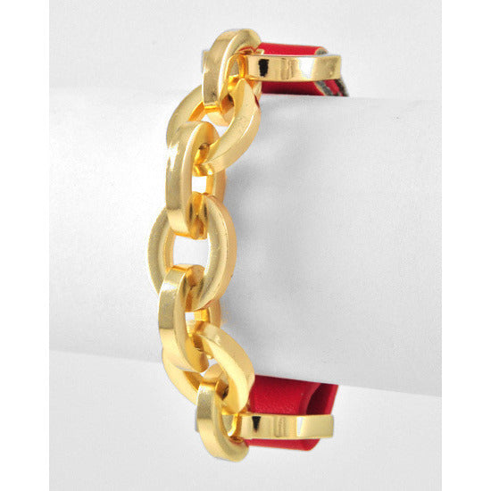 Gold Tone Link Chain Leatherette Red Bracelet - Dazzle Her Now