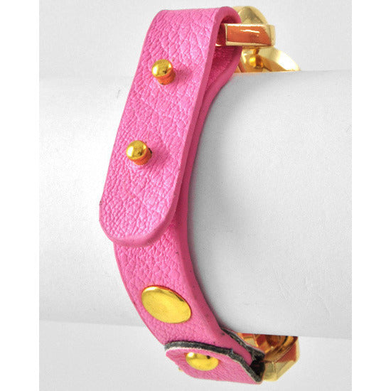 Gold Tone Link Chain Leatherette Pink Bracelet