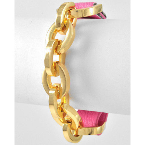 Gold Tone Link Chain Leatherette Pink Bracelet - Dazzle Her Now