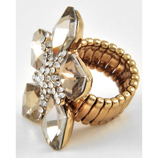 Five Petal Flower Topaz Gold Tone Stretch Ring - Dazzle Her Now