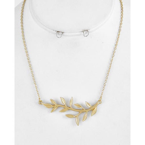 Matt Gold Tone Leaf Necklace - Dazzle Her Now