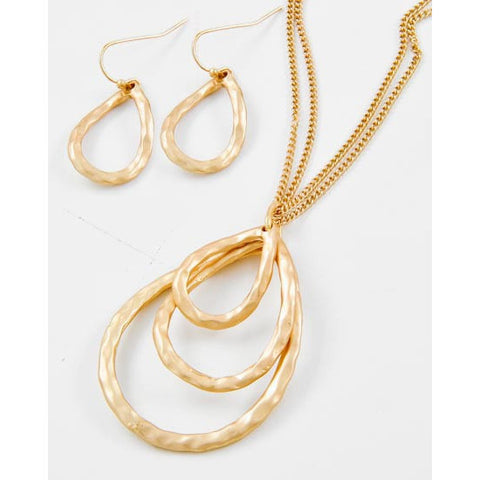 Matt Gold Tone Triple Tear Drop Pendant Necklace Set - Dazzle Her Now