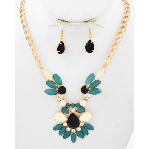 Gold Tone Estate Teal Necklace Set - Dazzle Her Now