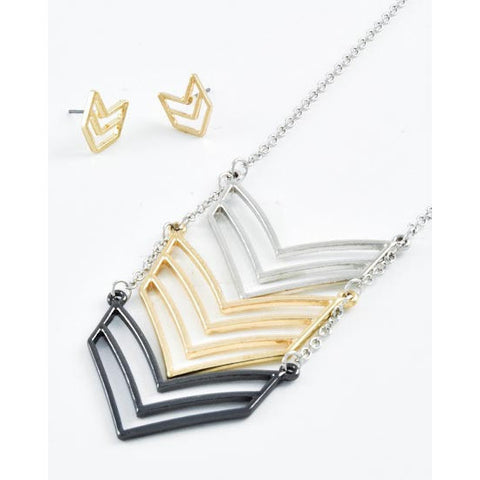 Tri-Tone Chevron Necklace Set - Dazzle Her Now