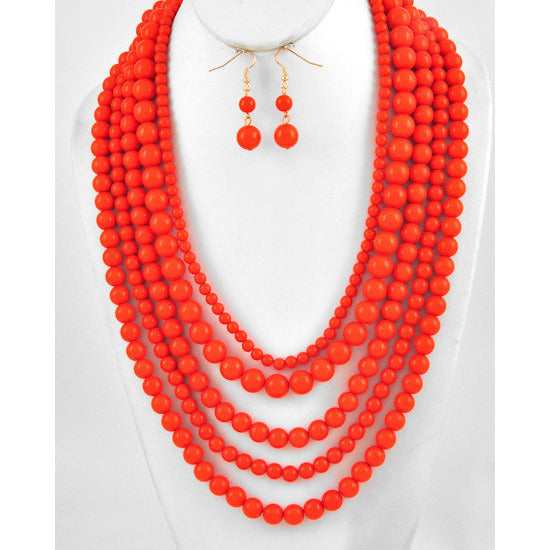 Lots of Layers Tangerine Necklace Set - Dazzle Her Now