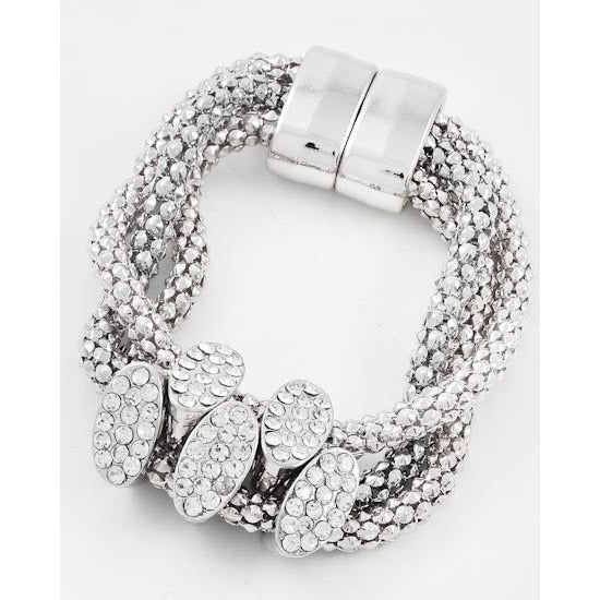 Silver Three Strand Bracelet with Oval Pave Sliders