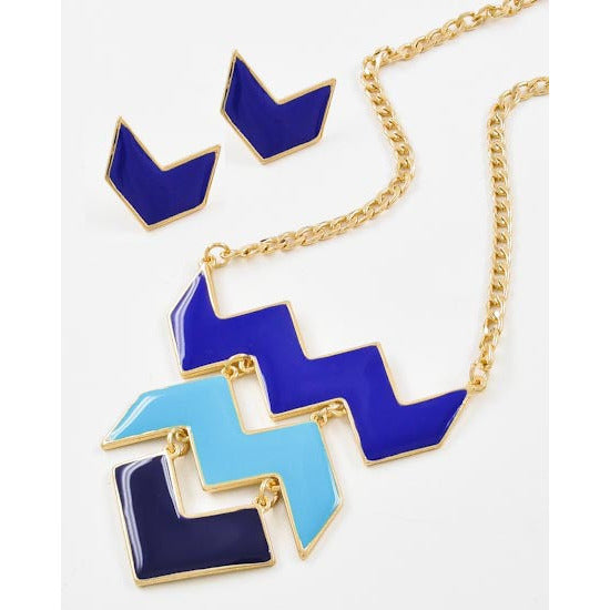 Gold Tone Blue Mix Chevron Necklace Set - Dazzle Her Now
