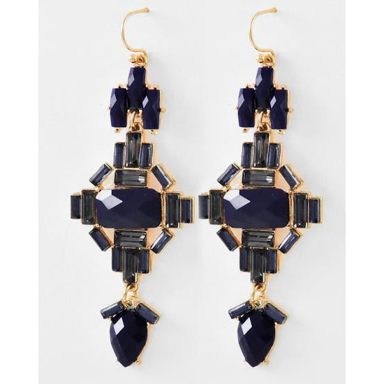 Navy Faceted Drop Earrings - Dazzle Her Now