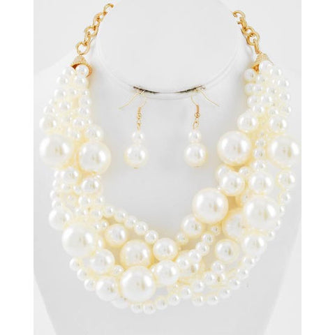 Clutch My Pearls Necklace and Earring Set - Dazzle Her Now