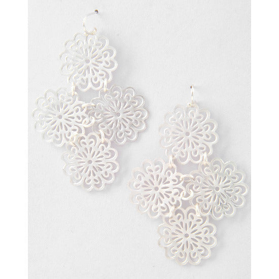 Matte Silver Tone Filigree Flower Earrings - Dazzle Her Now