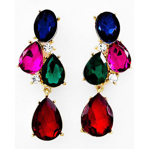 Whole Lotta Gems Gold Tone Earrings - Dazzle Her Now