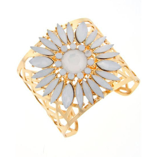 Dazzling White Bloom Gold Tone Cuff - Dazzle Her Now