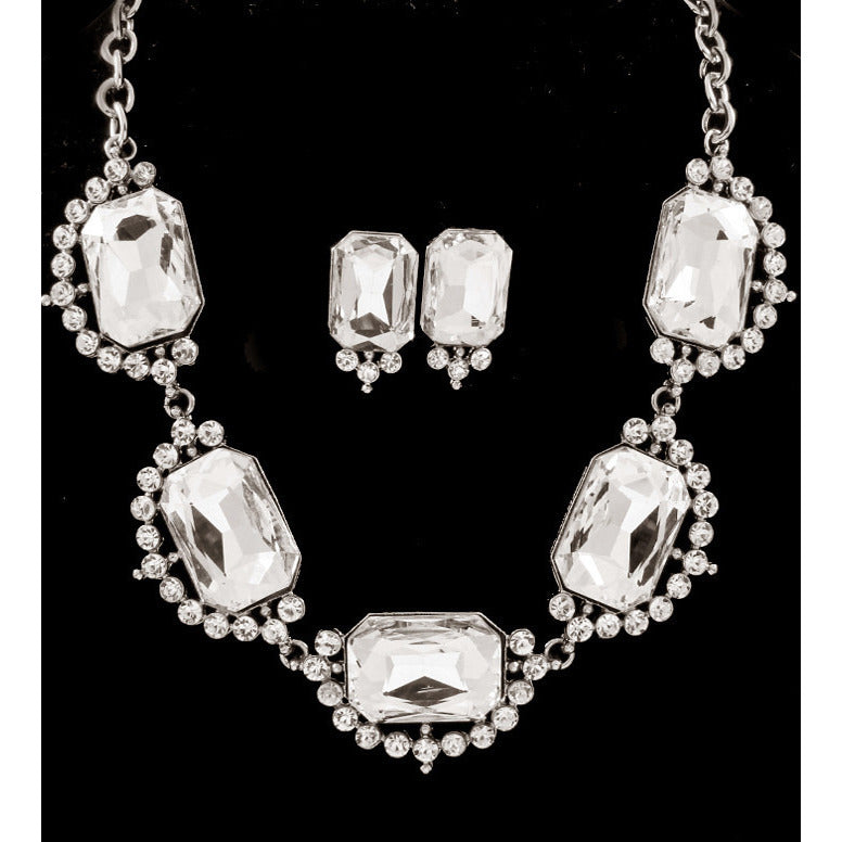 Diamonds Are Forever Bib Necklace Set  - Silver Tone - Dazzle Her Now