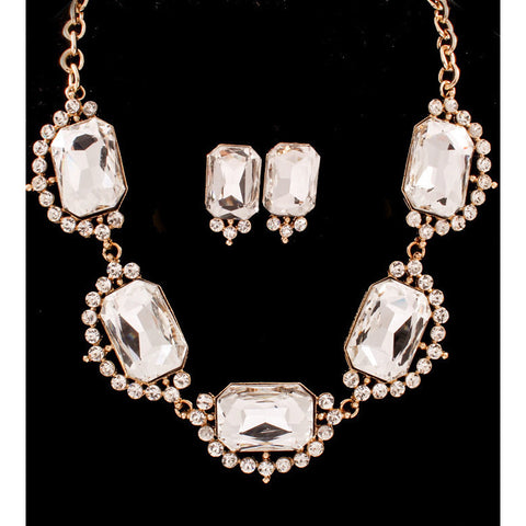 Diamonds Are Forever Bib Necklace Set - Gold Tone - Dazzle Her Now
