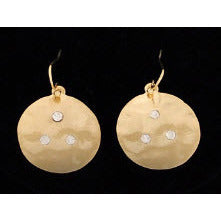 Small Gold Coin Earrings w/ Stones - Dazzle Her Now