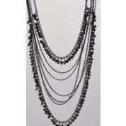 Long Gunmetal Bead Necklace - Dazzle Her Now