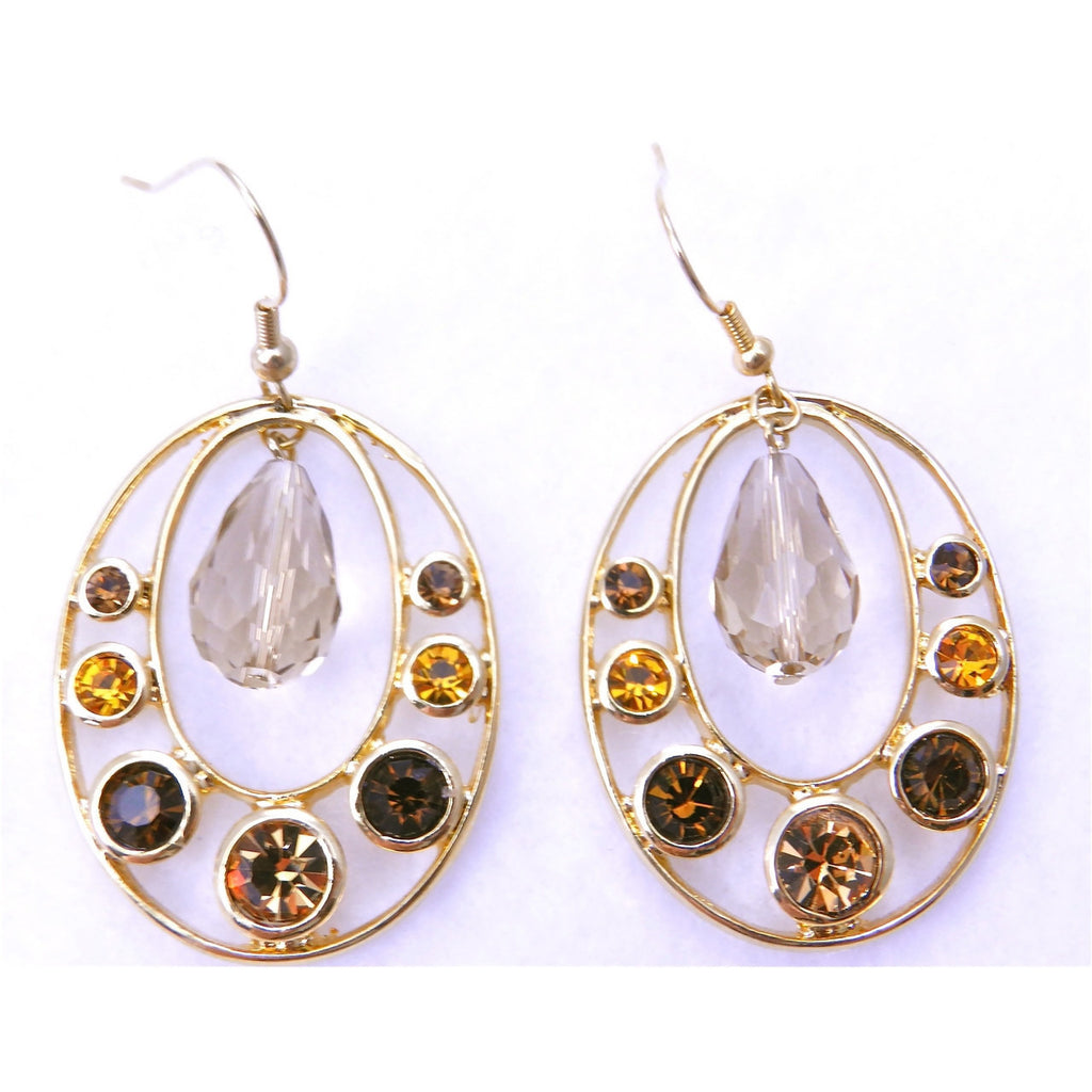 Framed Jewel Earrings-Gold - Dazzle Her Now