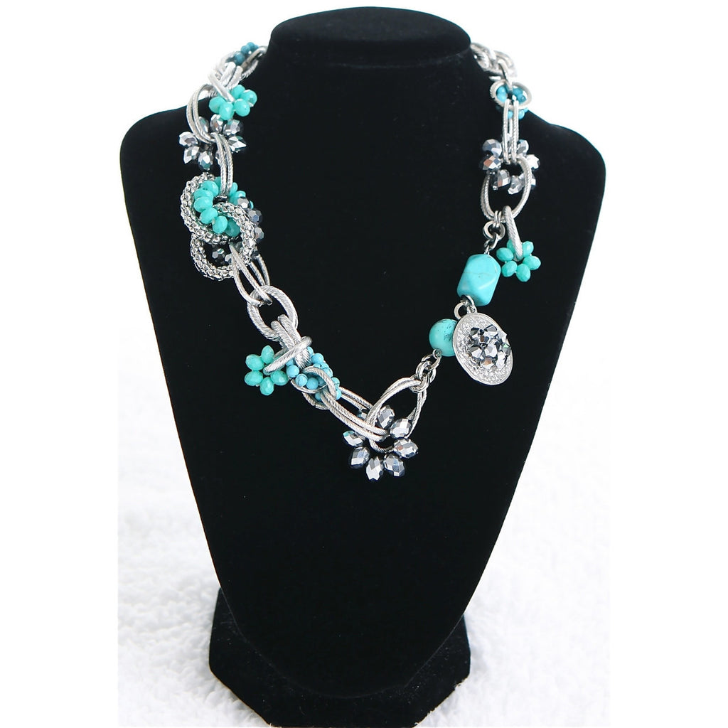 Turquoise Chain link Charm Necklace - Dazzle Her Now