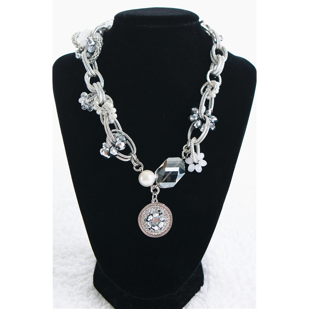 Silver Chain link Charm Necklace - Dazzle Her Now