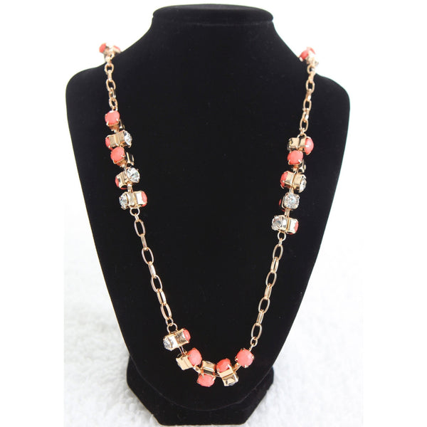 Sparkling Long Diamond Necklace - Coral - Dazzle Her Now