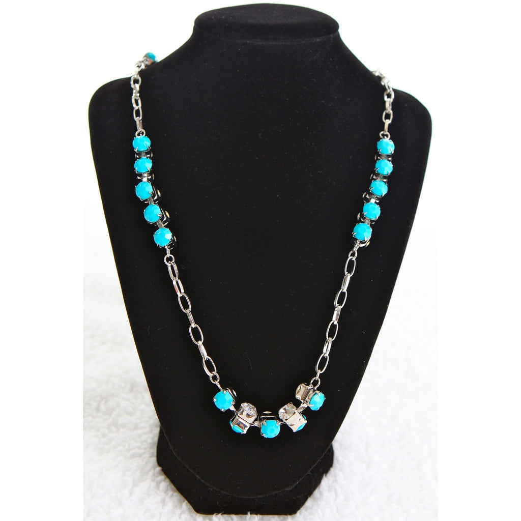Sparkling Long Diamond Necklace - Turquoise - Dazzle Her Now