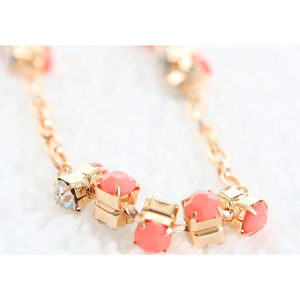 Sparkling Long Diamond Necklace - Coral
