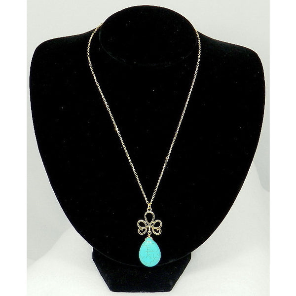 Turquoise Gemstome Teardrop Pendant Gold Tone Necklace - Dazzle Her Now