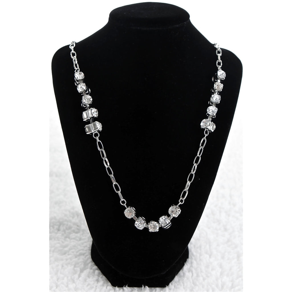 Long Silver Diamond Necklace - Dazzle Her Now