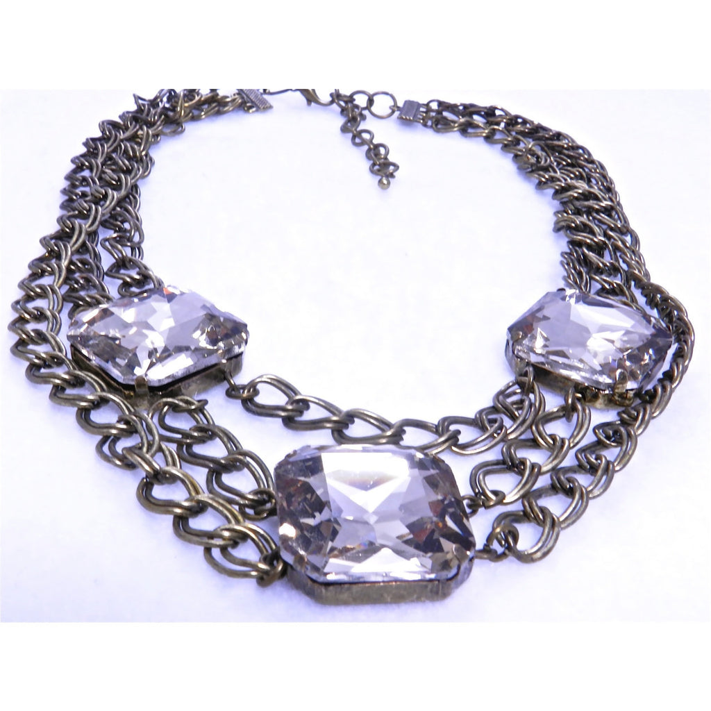 3 Square Cut Crystal Necklace - Dazzle Her Now