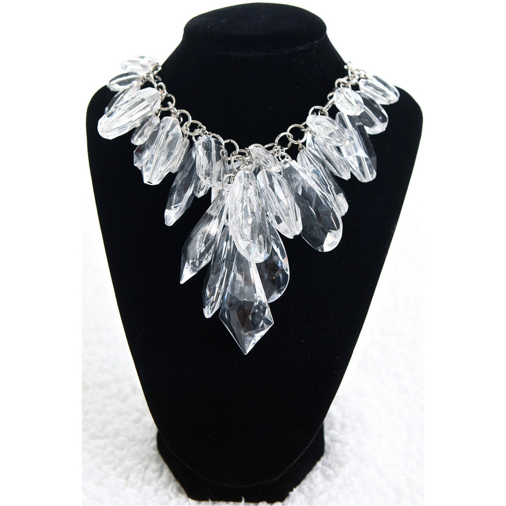 Statement Faceted Crystal Necklace - Clear - Dazzle Her Now