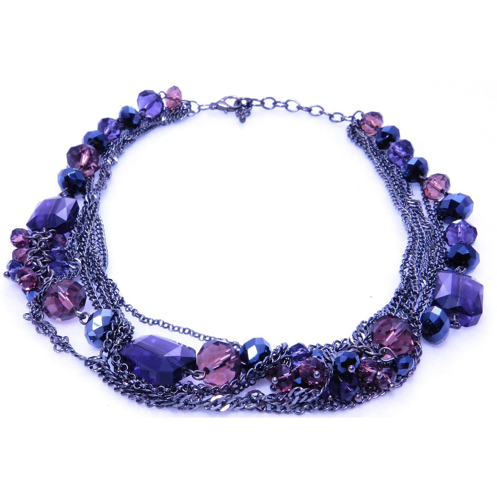 Short Purple Chain Necklace - Dazzle Her Now