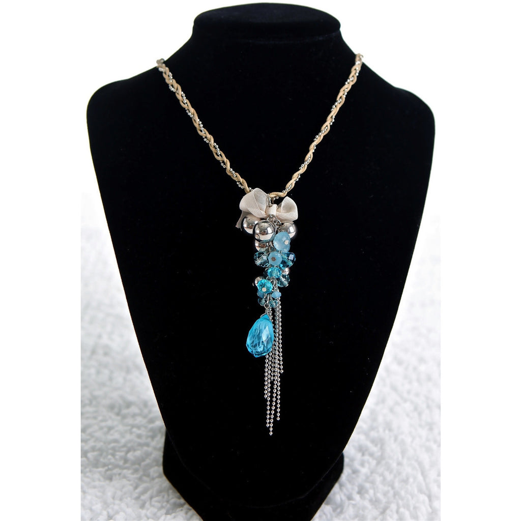 Blue Cluster Bow Necklace - Dazzle Her Now