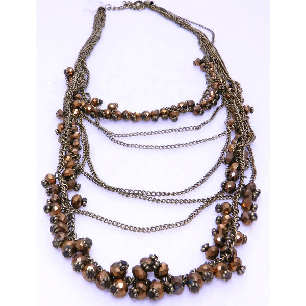 Long Bronze Bead Necklace - Dazzle Her Now