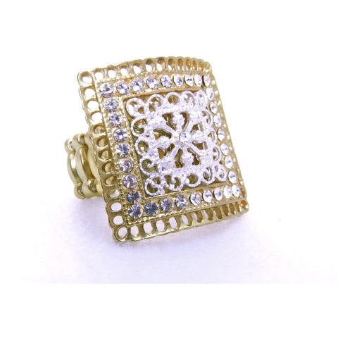 Silver/Gold Square Ring - Dazzle Her Now