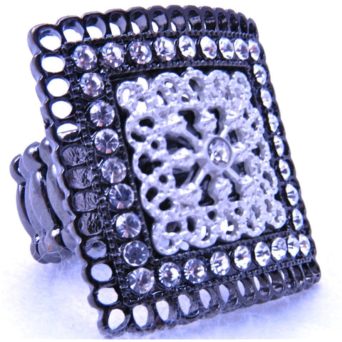 White/Black Square Ring - Dazzle Her Now