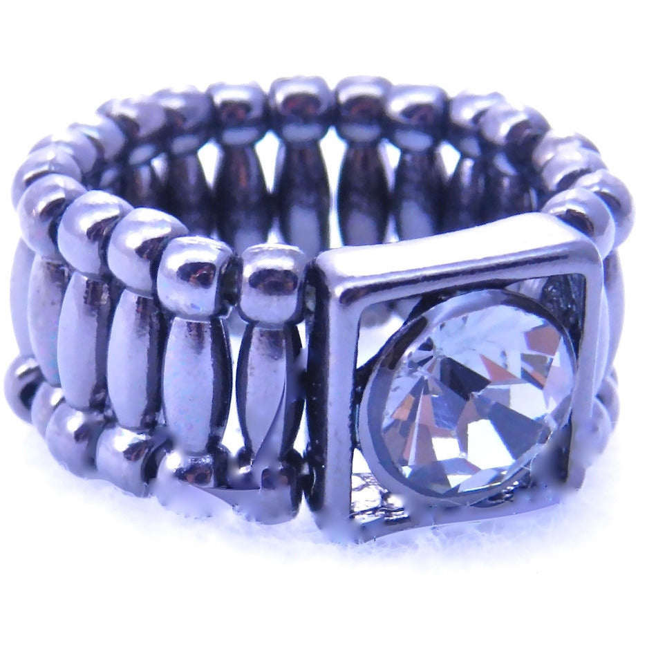 Center Clear Crystal Adjustable Ring - Dazzle Her Now