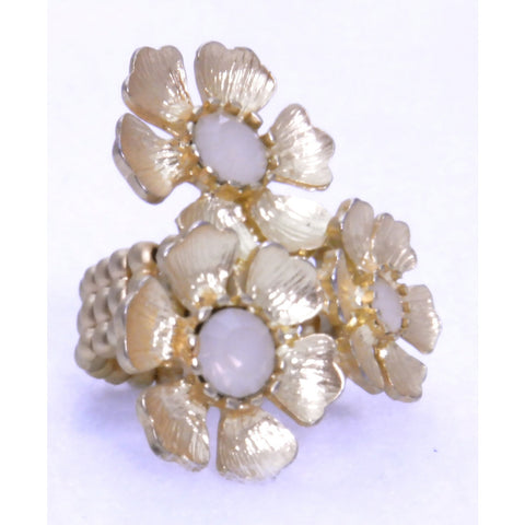 Triple Gold Flower Ring - White - Dazzle Her Now