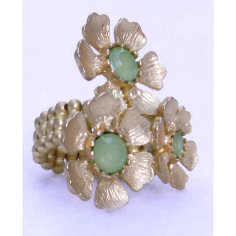 Triple Gold Flower Ring - Green - Dazzle Her Now