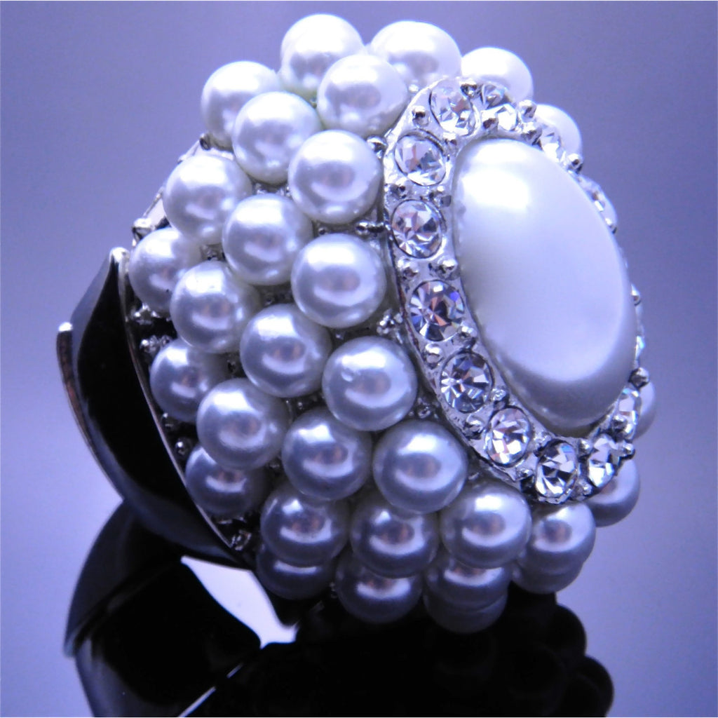 White Pearl Ring - Dazzle Her Now