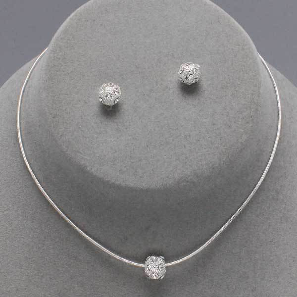 Silver Pave Ball Necklace Set - Dazzle Her Now