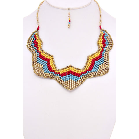 Beaded Boho Chic Bib Necklace Set - Dazzle Her Now