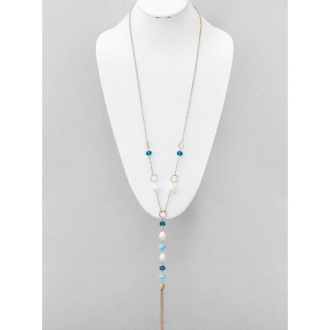 Fresh Water Pearl Long Tassel Crystal Necklace - Dazzle Her Now
