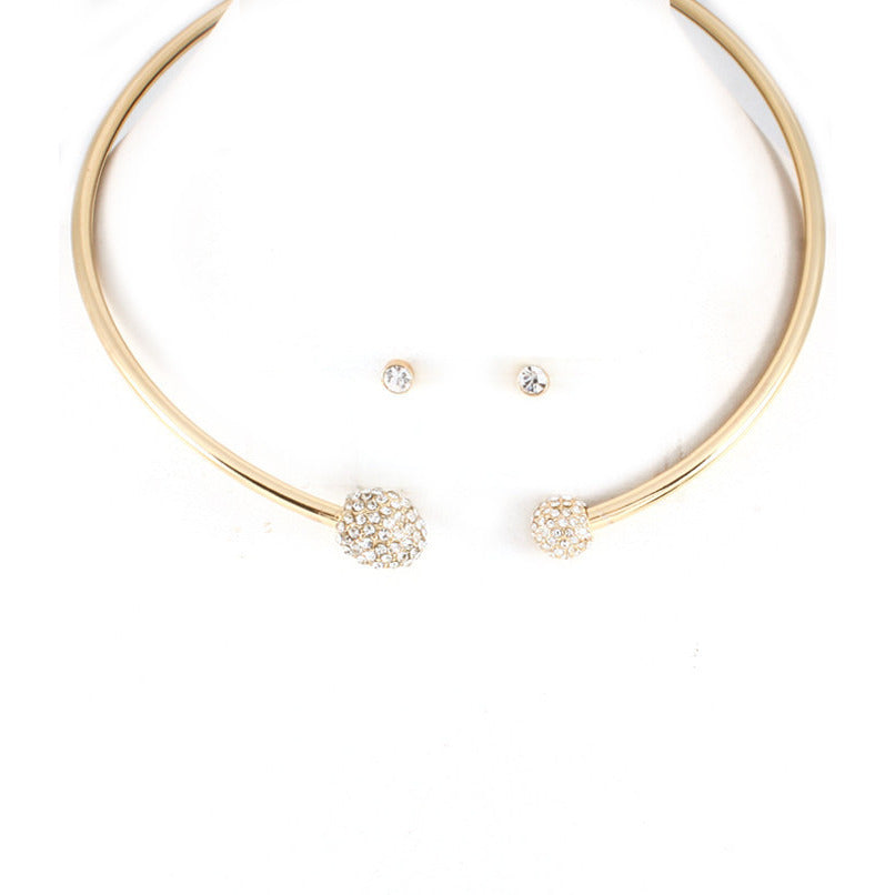 Gold Tone Pave Ball Ends Choker Necklace Set - Dazzle Her Now