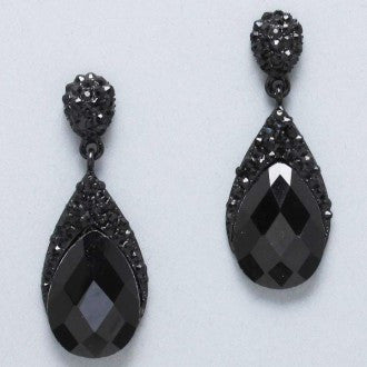 Blacked Out Faceted Gemstone and Pave Teardrop Earrings - Dazzle Her Now