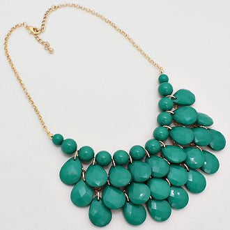 Teardrop Jewel Bubble Necklace Set - Blue Green - Dazzle Her Now
