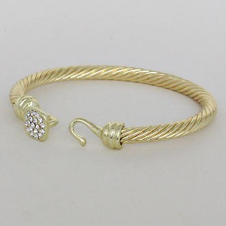 Center Crystal Rope Metal Gold Tone Bangle Bracelet - Dazzle Her Now