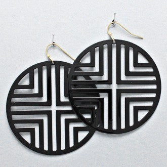 Circle Matrix Earrings - Black - Dazzle Her Now