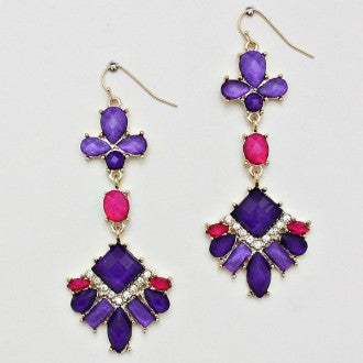 Dangle Cocktail Earrings - Pink and Purple - Dazzle Her Now